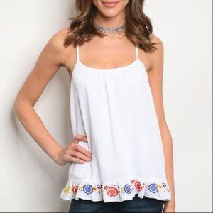 White tank top chiffon blouse w/ruffle detail
